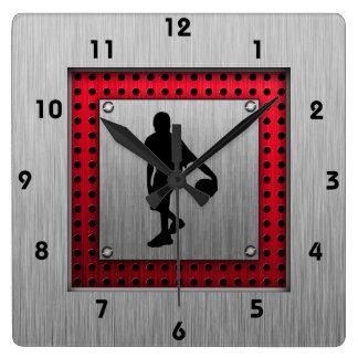 Brushed metal look, Basketball; red Clock