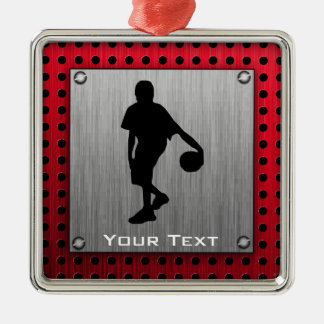 Brushed metal look, Basketball; red Square Metal Christmas Ornament