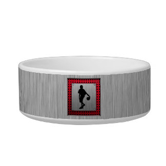 Brushed metal look, Basketball; red Cat Food Bowls