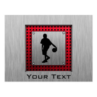 Brushed metal look, Basketball; red Postcard