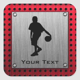 Brushed metal look, Basketball; red Square Sticker