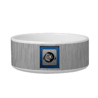 Brushed Metal look; Blue 8 ball Pet Water Bowl