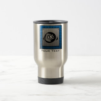 Brushed Metal look; Blue 8 ball Travel Mug