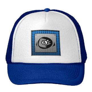Brushed Metal look; Blue 8 ball Trucker Hat