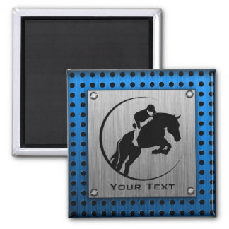 Brushed Metal-look; Blue Equestrian 2 Inch Square Magnet