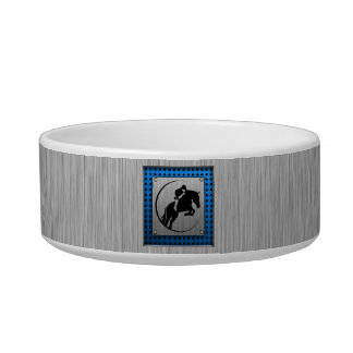 Brushed Metal-look; Blue Equestrian Bowl