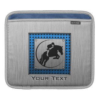 Brushed Metal-look; Blue Equestrian iPad Sleeve