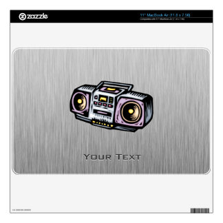 """Brushed Metal-look Boombox Decal For 11"""" MacBook Air"""