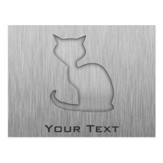 Brushed Metal look Cat Postcard