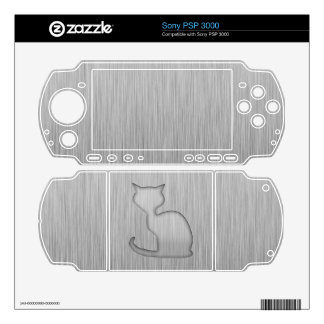 Brushed Metal look Cat Skins For Sony PSP 3000