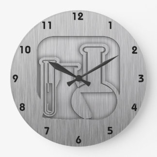 Brushed Metal-look Chemistry Large Clock