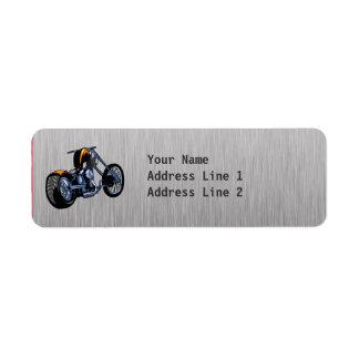 Brushed Metal-look Chopper Return Address Label