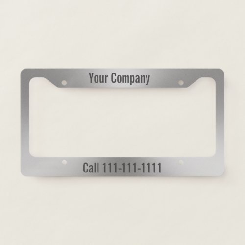 Brushed Metal Look Company Ad with Phone Number License Plate Frame