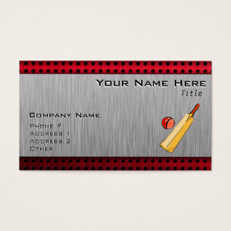 Brushed metal look Cricket Business Card
