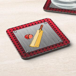 Brushed metal look Cricket Drink Coasters