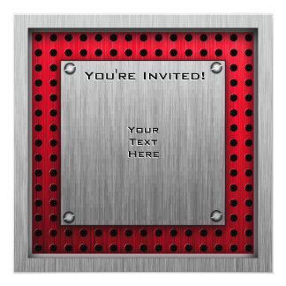 Brushed metal look Cricket 5.25x5.25 Square Paper Invitation Card