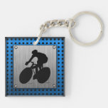 Brushed metal look Cycling Acrylic Key Chain