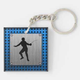 Brushed metal look Fencing Silhouette Double-Sided Square Acrylic Keychain