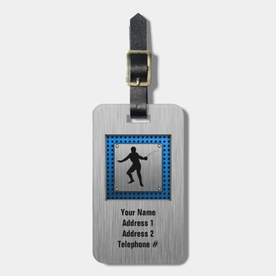 Brushed metal look Fencing Silhouette Luggage Tag