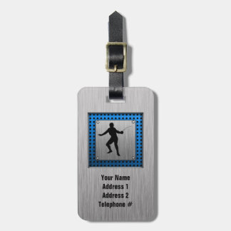 Brushed metal look Fencing Silhouette Tag For Luggage