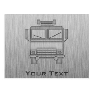 Brushed Metal-look Fire Truck Postcard