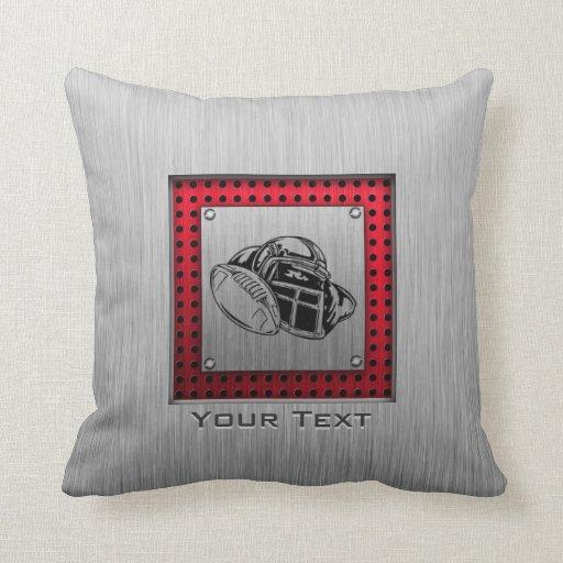 Brushed metal look Football Pillow