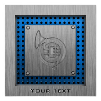 Brushed metal-look French Horn Posters