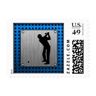 Brushed metal look Golf Stamp