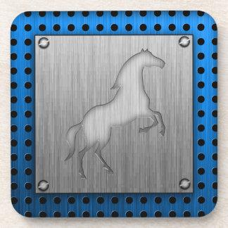 Brushed metal look Horse Beverage Coaster