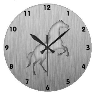 Brushed metal look Horse Large Clock