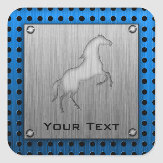 Brushed metal look Horse Square Sticker