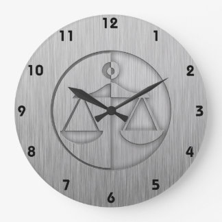 Brushed Metal-look Justice Scales Large Clock