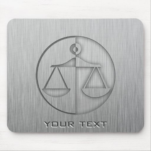 Brushed Metal-look Justice Scales Mouse Pad