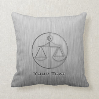Brushed Metal-look Justice Scales Pillow