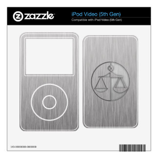 Brushed Metal-look Justice Scales iPod Video 5G Skin