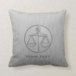 Brushed Metal-look Justice Scales Throw Pillow