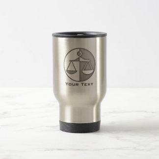Brushed Metal-look Justice Scales Travel Mug