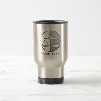Brushed Metal-look Justice Scales Travel Mug