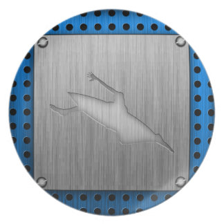 Brushed Metal-look Kayaking Dinner Plates