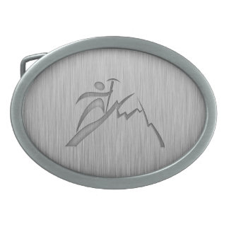 Brushed Metal-look Mountain Climbing Oval Belt Buckle