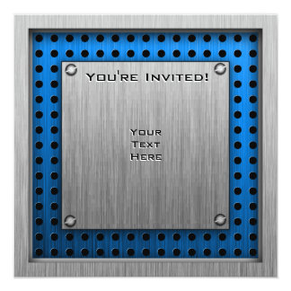 Brushed Metal-look Movie Camera 5.25x5.25 Square Paper Invitation Card