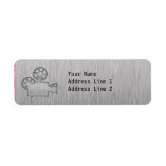 Brushed Metal-look Movie Camera Label