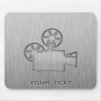 Brushed Metal-look Movie Camera Mouse Pad