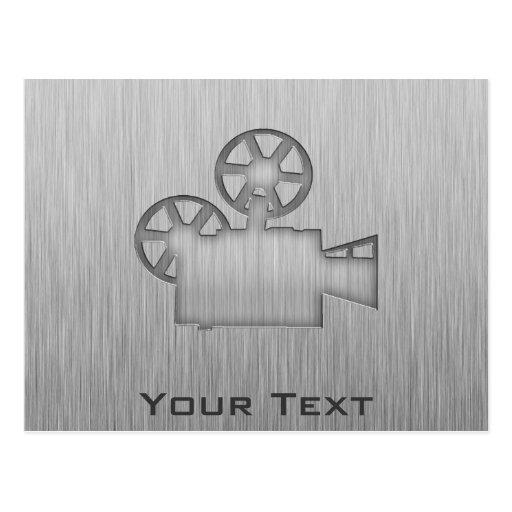 Brushed Metal-look Movie Camera Postcard