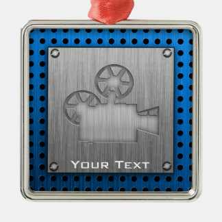 Brushed Metal-look Movie Camera Square Metal Christmas Ornament
