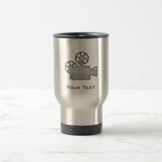 Brushed Metal-look Movie Camera Travel Mug
