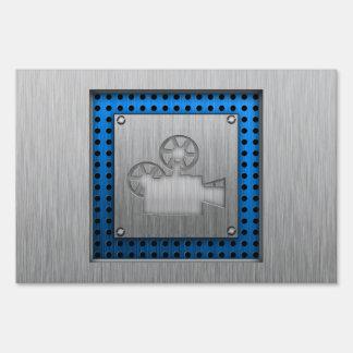 Brushed Metal-look Movie Camera Signs