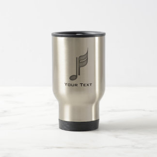Brushed Metal-look Music Note Travel Mug