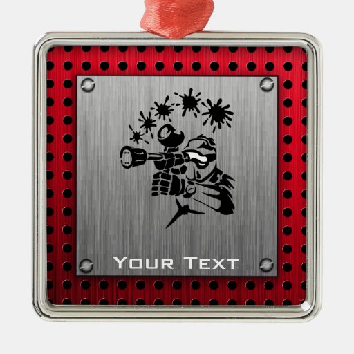 Brushed metal look Paintball Square Metal Christmas Ornament