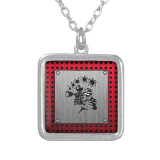 Brushed metal look Paintball Square Pendant Necklace
